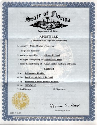 apostilled of documents